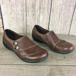 Clarks Bendable Brown Leather Clogs / Mules Sz 11